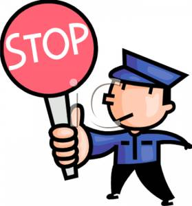 279x300 A Traffic Control Officer With A Stop Sign Clip Art Image