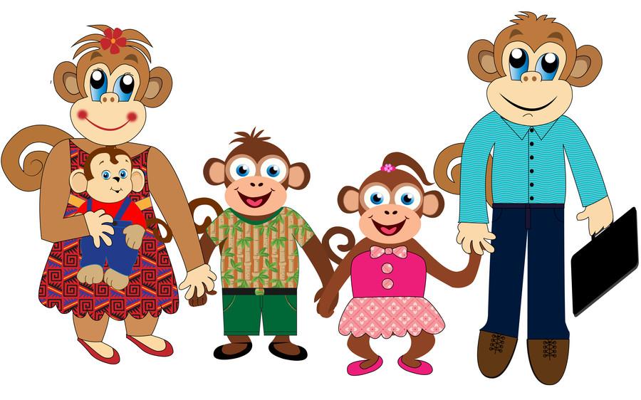 900x562 Monkey family clipart