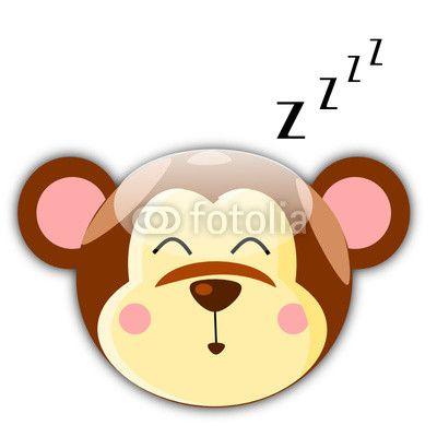 400x400 Vector illustration of sleepy monkey. Image, isolated, animals