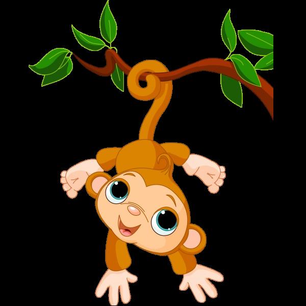600x600 Cartoon Monkey Swinging On A Vine Canitz Art