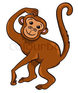 269x320 Cute Baby Monkey On A Tree Holding Banana Stock Vector Colourbox