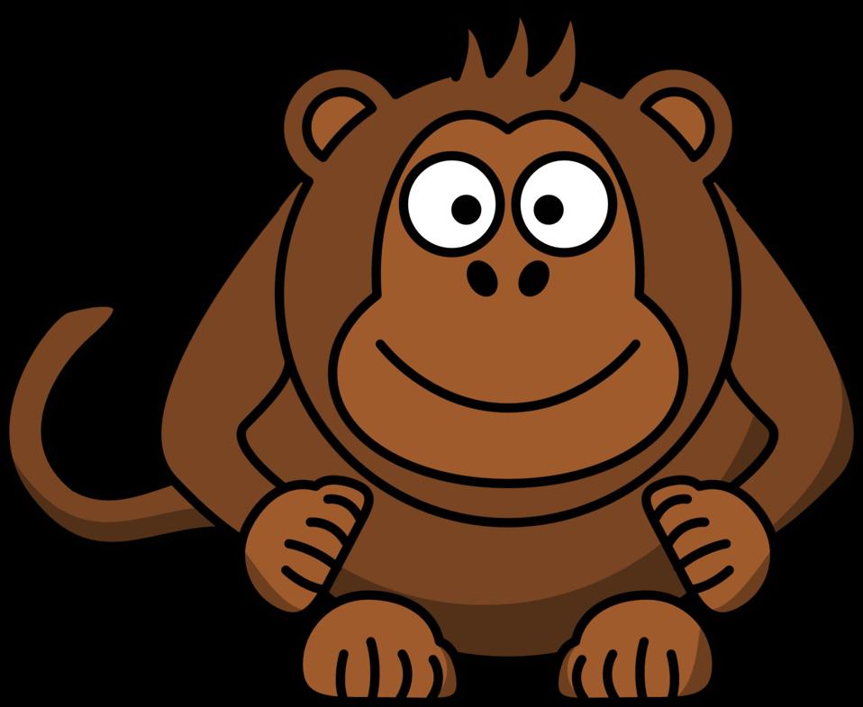 958x785 Public Domain Clip Art Image Illustration of a cartoon monkey