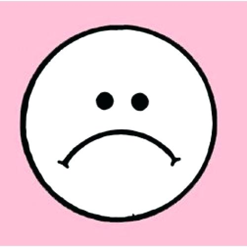 500x500 Frown Clip Art Fearful Large Eyed Black And White Smiley Face