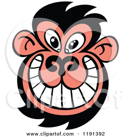 450x470 Royalty Free (Rf) Clipart Illustration Of A Black And Pink Monkey