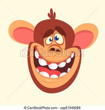450x470 Cartoon Monkey Head Icon. Vector Illustration Of Smiling Vector
