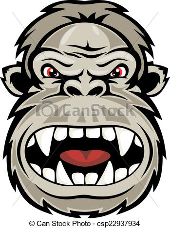 349x470 Wild Gorilla Monkey Head For Mascot Design. Vector Vectors