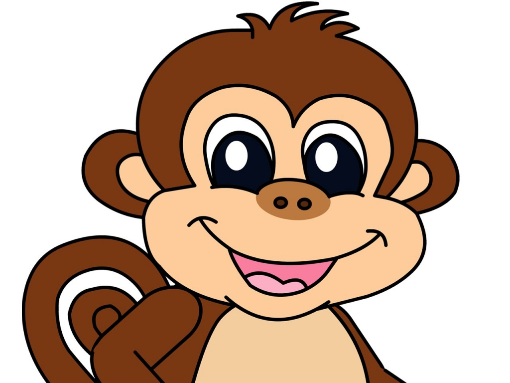 1024x768 Cartoon Drawings Monkeys Funny Monkey Cartoon Drawings