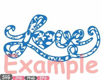 350x277 Love Flower Word Art Clipart Heart Floral Valentine Monogram