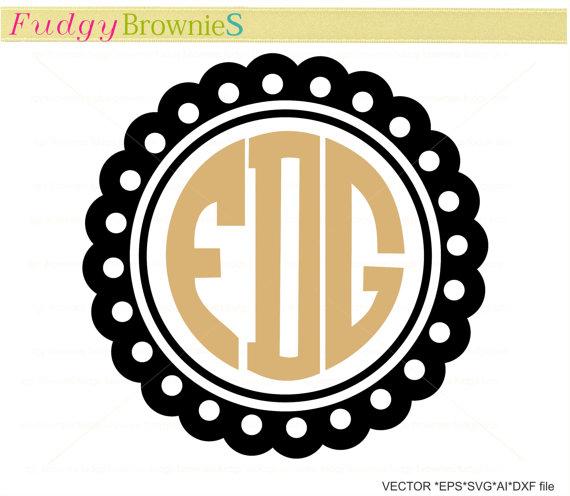 570x496 Sale Svg Scalloped Monogram Frames, Circle Frame Clip Art, Dot