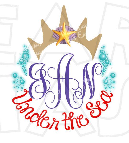 541x600 Ariel The Little Mermaid Crown Personalized Monogram Digital Clip