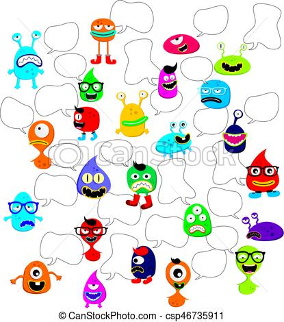 415x470 Cute Adorable Ugly Scarry Funny Mascot Monster Set Vector