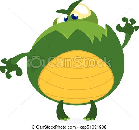 450x423 Green Monster Frog Waving Kids Cartoon. Childish Scary Green