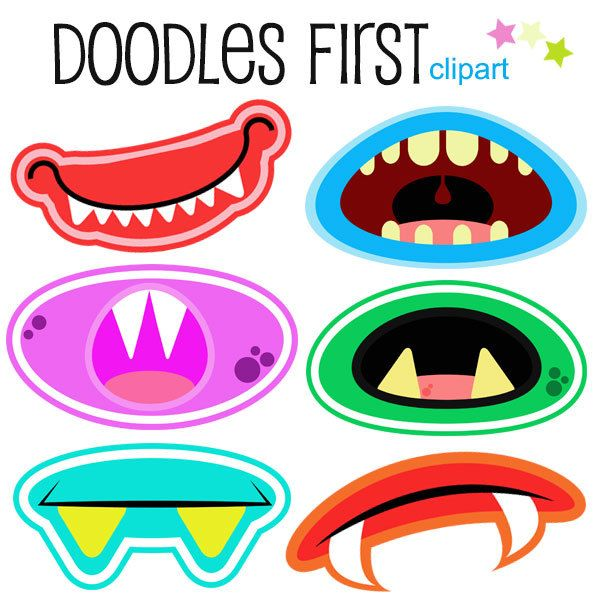 600x600 This Clip Art Set Includes All 6 Of The Fun Monster Mouth Amp Grins