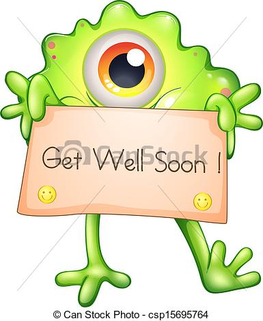385x470 Clip Art Get Well Illustration Of A Green Monster Holding A Get