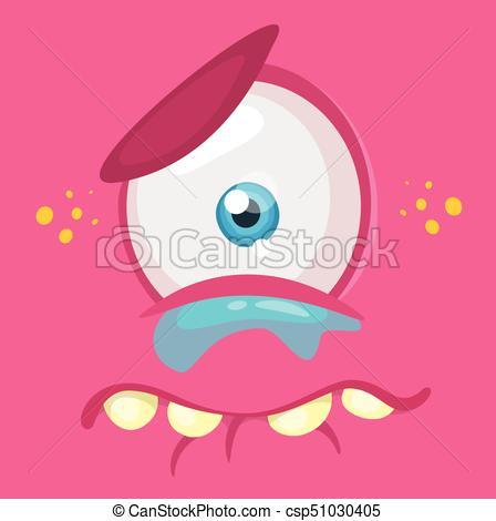 448x470 Crying Cartoon Monster Face. Vector Halloween Pink Sad Vector