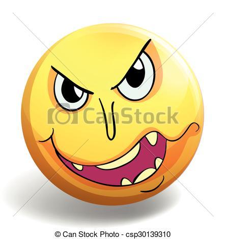 444x470 Monster Face On Yellow Ball Illustration Vector Clip Art