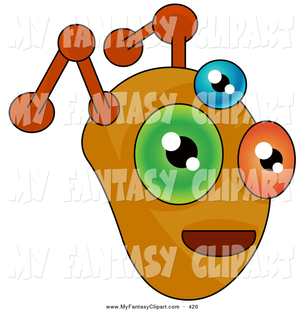 1024x1044 Clip Art Of A Monster Or Alien Face With Orange Antennae And Three