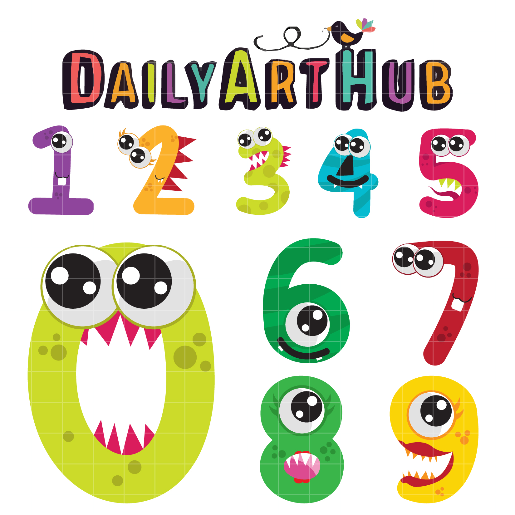 1650x1650 Cute Monster Numbers Clip Art Set Daily Art Hub Free Clip Art