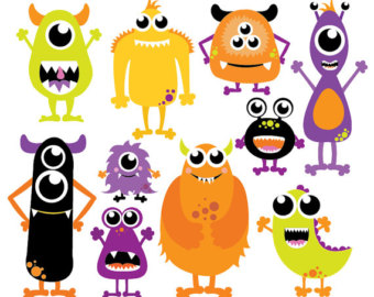 340x270 Monsters Mouth And Eyes Digital Clipart Little Monster Party