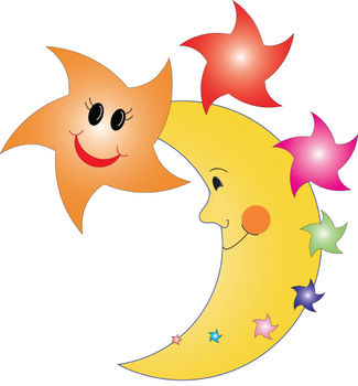 325x350 Free Clipart Picture Of Happy Stars And The Man In The Moon