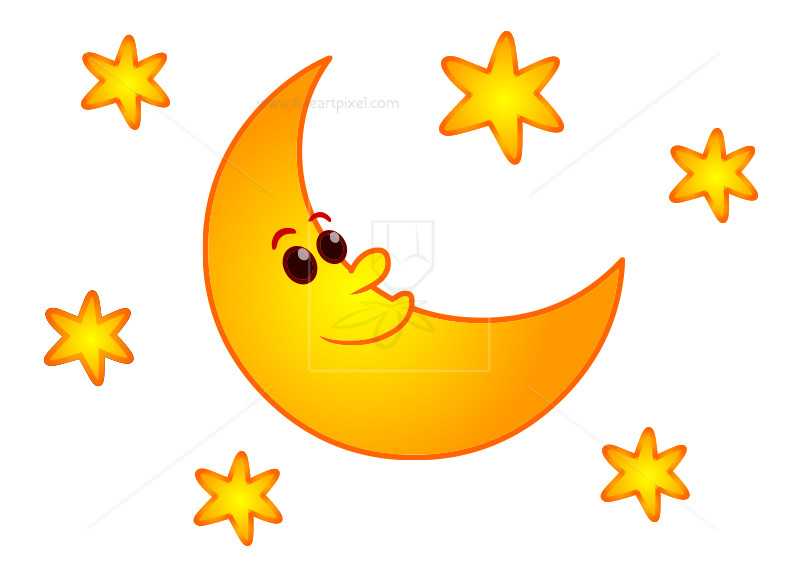 800x578 Cartoon Moon And Stars Clip Art Free Vectors, Illustrations