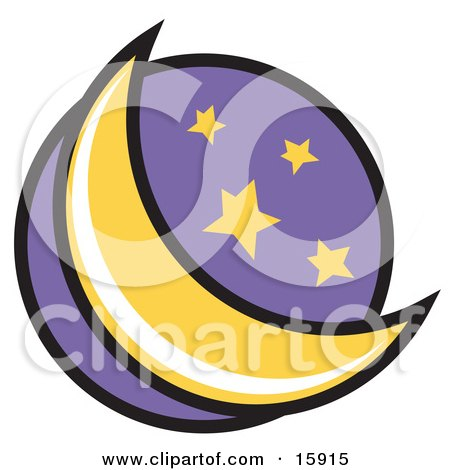 450x470 Crescent Moon And Stars In The Night Sky Clipart Illustration By