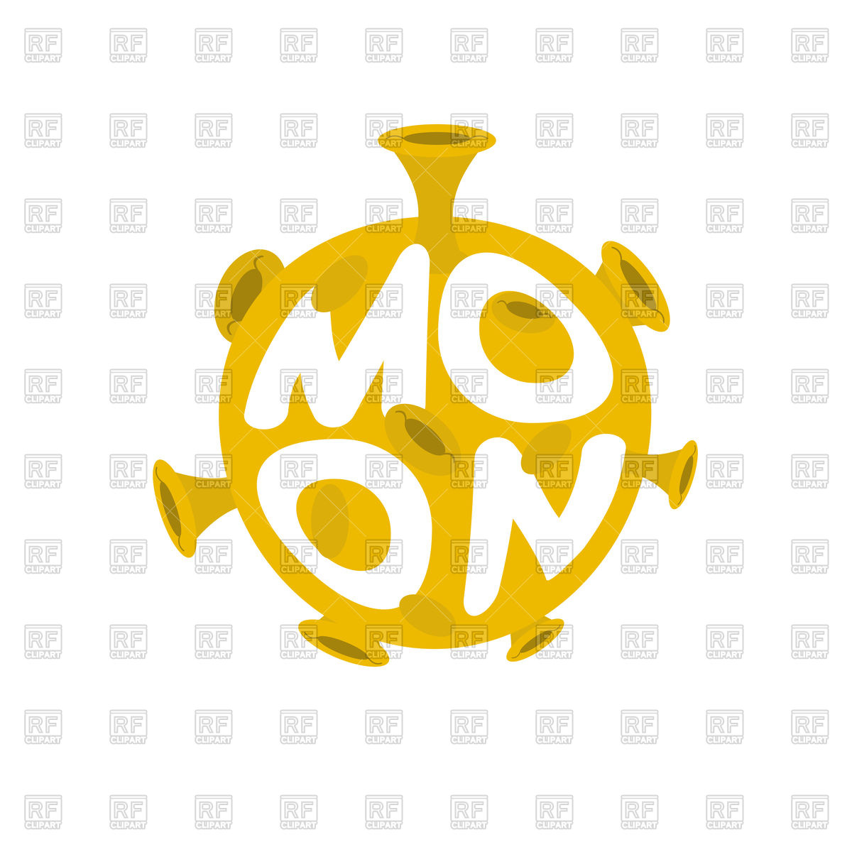 1200x1200 Moon Lettering. Yellow Planet Of Solar System Icon. Royalty Free