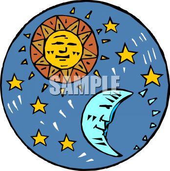 348x350 Sun Moon And Stars Clipart 101 Clip Art