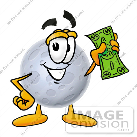 450x450 Clip Art Graphic Of A Full Moon Cartoon Character Holding A Dollar