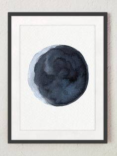 236x314 Waxing Gibbous Moon Print, Lunar Watercolor Painting, Navy Bedroom