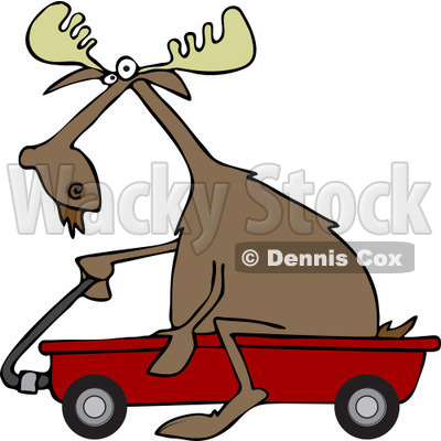 400x400 Clipart Of A Moose Riding In A Red Wagon
