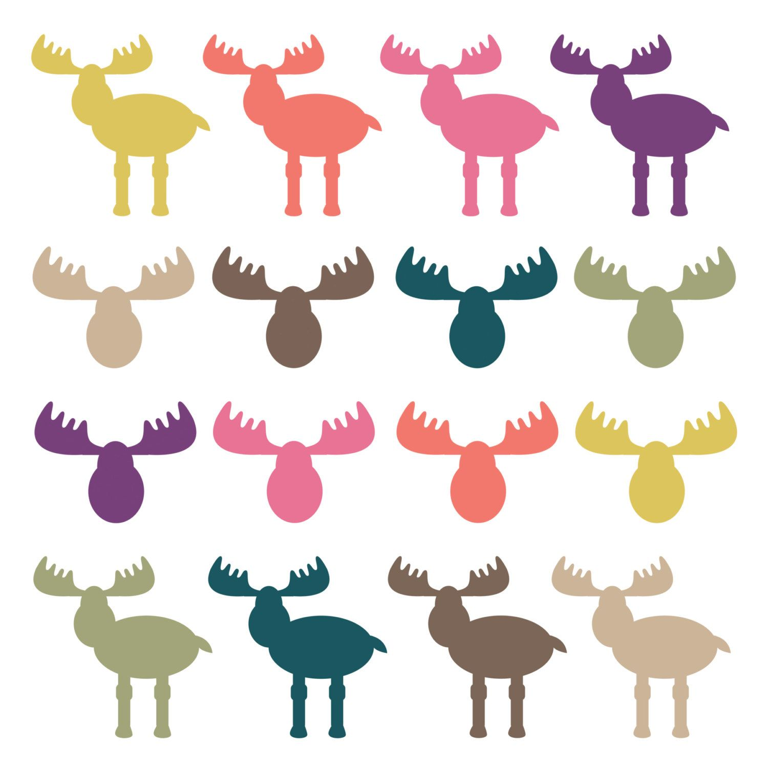 1500x1500 Instant Download Moose Clipart Moose Heads Woodland