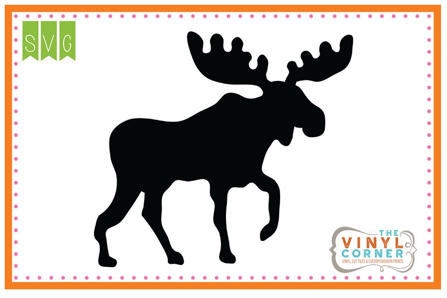 900x600 Applique Corner Moose Silhouette Cuttable Svg Clipart Design