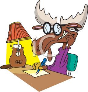 289x300 Clipart Picture A Moose Sitting At His Desk Writing On A Sheet