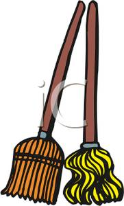181x300 Clipart Image A Broom And A Mop