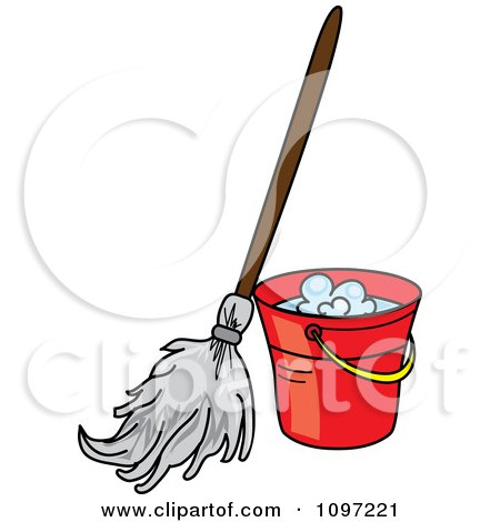 450x470 Clipart Mop Resting Against A Red Cleaning Bucket
