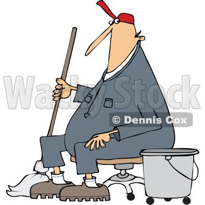 400x400 Clipart Of A Cartoon White Male Custodian Janitor Taking A Break