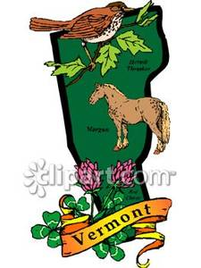 225x300 Green State Of Vermont With State Symbols Of Morgan Horse,