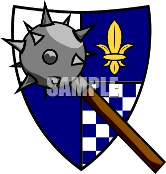 334x350 Morning Star Spiked Weapon And A Coat Of Arms Clip Art