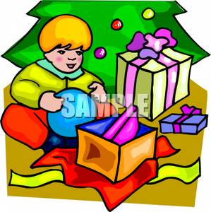 299x300 A Toddler Boy Opening Presents On Christmas Morning
