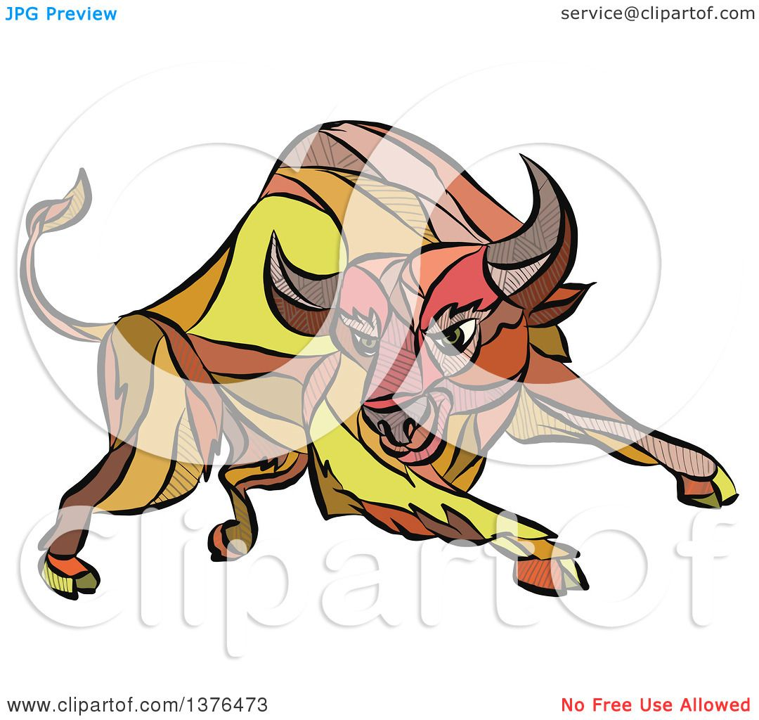 1080x1024 Clipart Of A Colorful Sketched Mosaic Angry Charging Bull