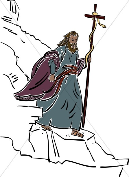 446x612 Moses Walking With Staff And Snake Moses Clipart