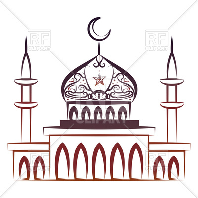 400x400 Ornate Colorful Mosque Royalty Free Vector Clip Art Image