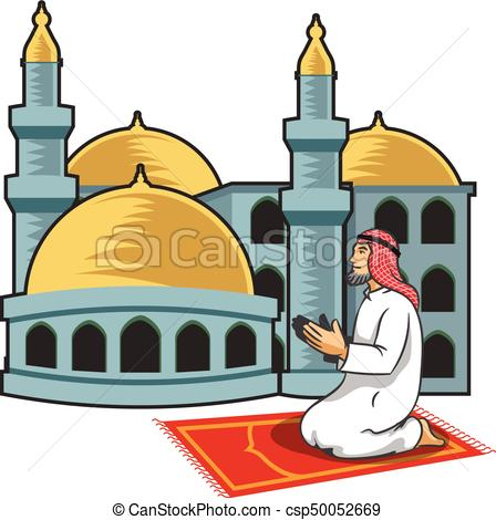 448x470 Vector Illustration Of Arabic Men Praying In Front Of Mosque Clip