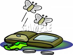 300x228 Two Moths Flying From An Almost Empty Wallet Clip Art Image