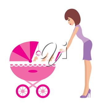 344x350 Clip Art Illustration Of A Mother Pushing A Baby Buggy