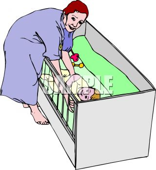 320x350 Clip Art Illustration Of A Mother Tending To Her Baby In