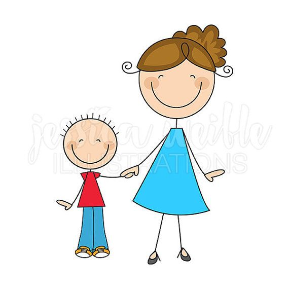 570x570 Mom And Son Stick Figures Cute Digital Clipart