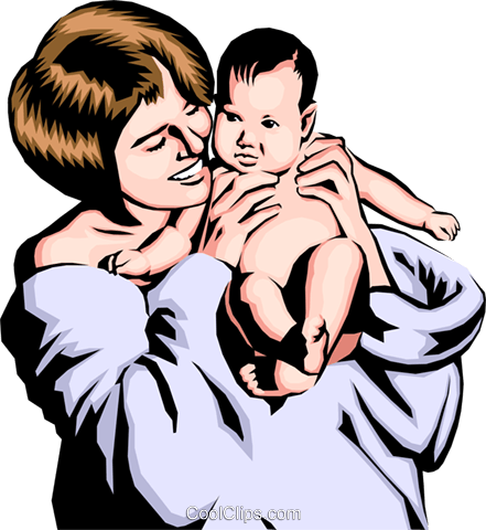 441x480 Mother With Baby Royalty Free Vector Clip Art Illustration