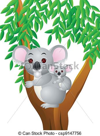 347x470 Vector Illustration Of Mother And Baby Koala Clip Art Vector